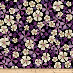 Kanvas Enchanted Full Bloom Black Metallic Fabric