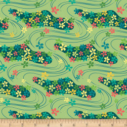 Contempo Printology Waves Green Fabric