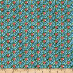 Contempo Printology Scallops Aqua Fabric