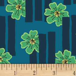 Contempo Printology Flowers Teal Fabric