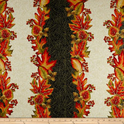 Autumn Leaves Stripe Metallic Multi Fabric