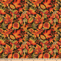 Autumn Leaves Allover Metallic Black Fabric