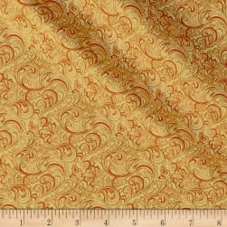 Autumn Leaves Garden Vine Scroll Metallic Butternut Fabric