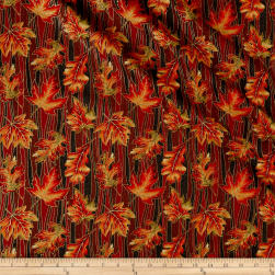 Autumn Leaves Wave Leaf Metallic Multi Fabric