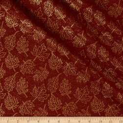 Autumn Leaves Leaf Outline Metallic Dark Red Fabric