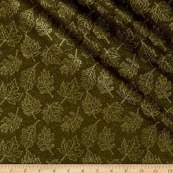 Autumn Leaves Leaf Outline Metallic Dark Green Fabric