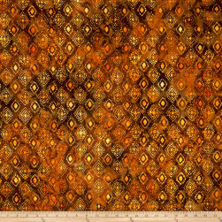 Anthology Batiks Medallion Rust Fabric