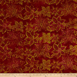 Anthology Batik Floral Silhouette Burgundy Fabric