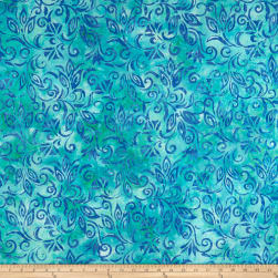 Anthology Batiks Flower Spaced Floral Aqua