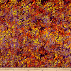 Anthology Batiks Scribbled Leaves Autumn Fabric