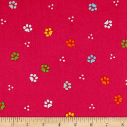 Stof ABCDairies Paws Dark Pink Fabric