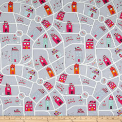 Stof ABCDairies Streets & Homes Grey Fabric