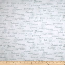 Stof Lavender Story Garden Words Mint Fabric