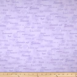 Stof Lavender Story Garden Words Lilac Fabric