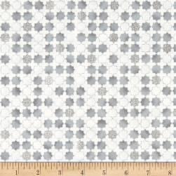 Stof Amazing Stars Grid With Stars Metallic Silver/White