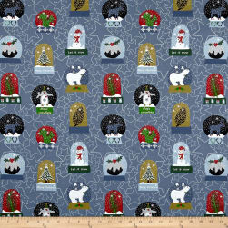 Stof Snow House Snow Globes Blue Fabric