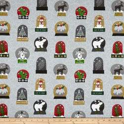 Stof Snow House Snow Globes Grey Fabric