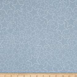 Stof Snow House Dotted Stars Blue Fabric