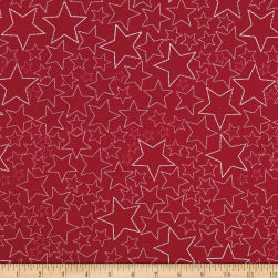 Stof Snow House Dotted Stars Red Fabric