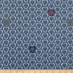 Stof Snow House Outlined Hearts Blue Fabric