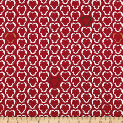 Stof Snow House Outlined Hearts Red Fabric