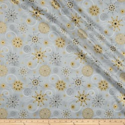 Stof Starlight Stars & Snowflakes Metallic Gold/Grey Fabric