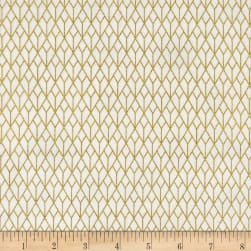 Stof Starlight Grid On Metallic Gold/White Fabric