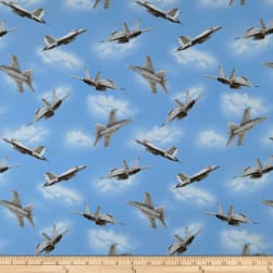 Air Show Fighter Jet Allover Blue Fabric