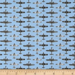 Air Show Small Planes Allover Blue Fabric