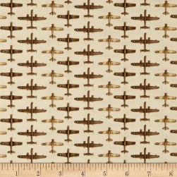 Air Show Small Planes Allover Beige Fabric
