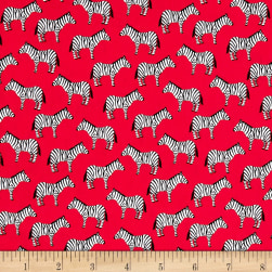 Little Explorers Small Zebras Red Fabric