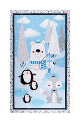 Polar Pals 2 Novelty 25'' Panel Flannel Blue Fabric