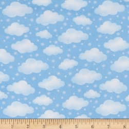 Polar Pals 2 Clouds Flannel Light Blue Fabric