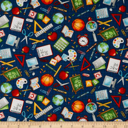School Zone School Icons Navy Fabric