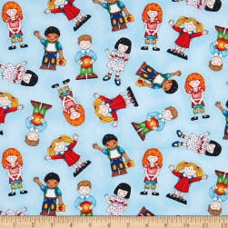 School Zone School Kids Light Blue Fabric