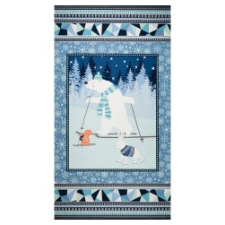 Snow Happy Winter 24'' Panel Blue Fabric