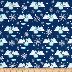 Snow Happy Fishing Penguins Navy Fabric