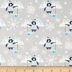 Snow Happy Fishing Penguins Light Gray