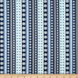 Snow Happy Knitted Stripe Blue Fabric