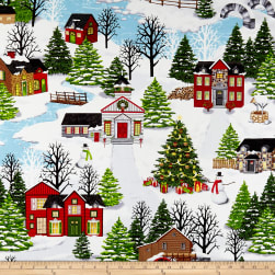 Christmas Village Scenic White Fabric