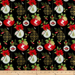 Christmas Village Ornaments Black Fabric