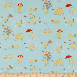 Ducky Tales Ducklings Allover Light Jade Fabric