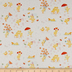 Ducky Tales Ducklings Allover White/Pink Fabric