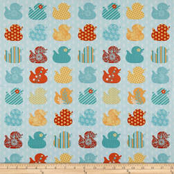 Ducky Tales Row Of Ducks Light Jade Fabric