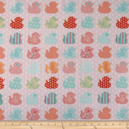 Ducky Tales Row Of Ducks Pink Fabric