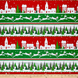 Peppermint Reindeer Novelty Stripe Red/Green