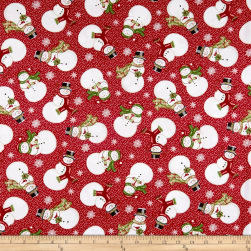 Winter Greetings Tossed Snowmen Red Fabric