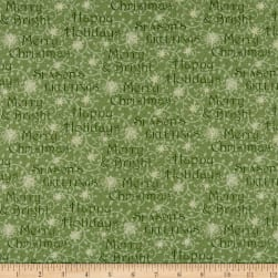 Winter Greetings Words Green Fabric