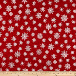 Winter Greetings Snowflakes Red Fabric