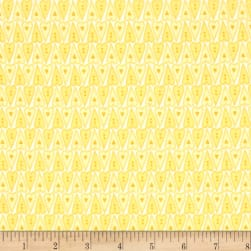 Basically Hugs Hearts Yellow Fabric